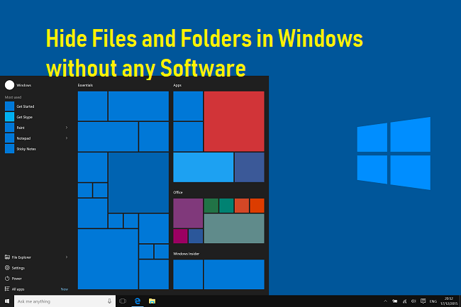 Hide Files and Folders in Windows without any Software